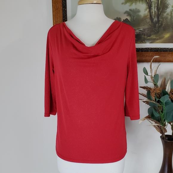 ❤2/$10 George Red Mock Neck Half Sleeve Top